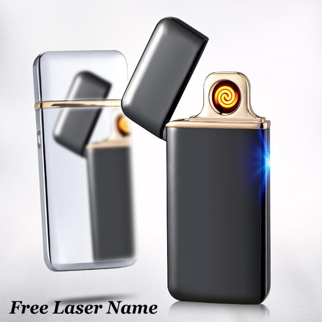 Palsma Pulse Lighter USB Lighter Rechargeable Electronic Lighter Ultra Thin Cigarette Lighter Encendedor Cigar Free Laser Name