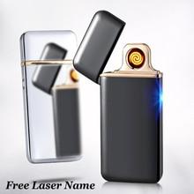 Palsma نبض ولاعة مصباح USB قابلة للشحن ولاعة إلكترونية الترا رقيقة ولاعة السجائر Encendedor السيجار الليزر مجانا اسم