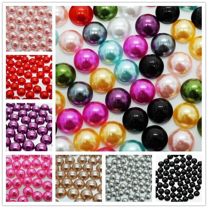 2/3/4/6/8/10/12 MM Imitation Pearl Beads Half Round Flat back mixed plastic Beads Wholesale
