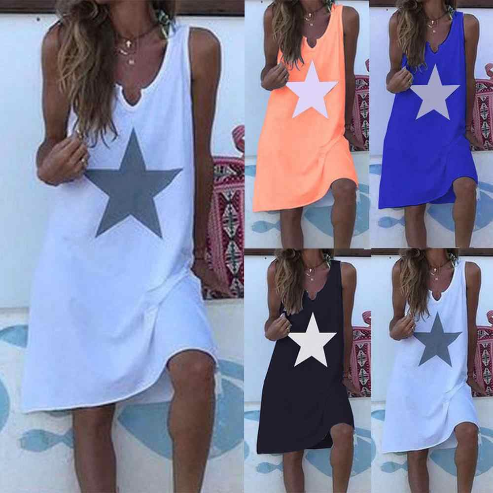 2019  Women Summer Fashion Dress Women Bohe Summer Casual Stars Print Dress V-Neck Sleeveless Loose Dressesvestidos Plus Size