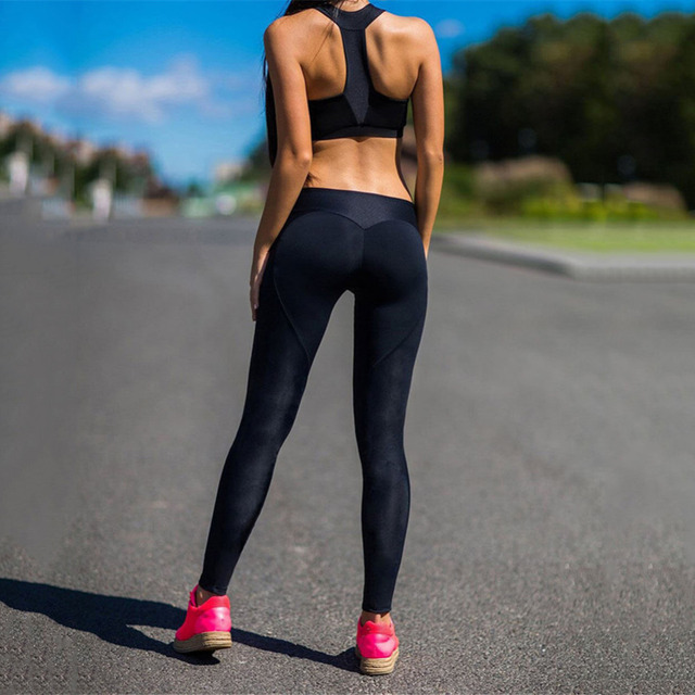 caa5a9f1c8454 Stitching Yoga Pants Workout Running Fitness Solid color Black Peach Heart  Shaped Sports Pants Leggings for Women Tights