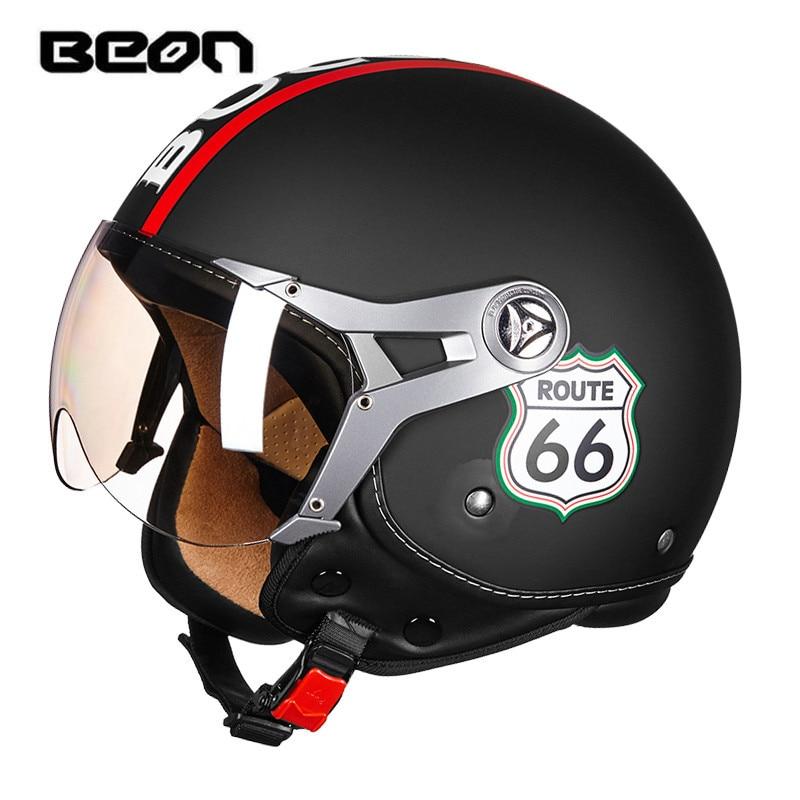 BEON motorcycle helmet Vintage Route 66 open face helmet Scooter 3/4 helmet ECE approved harley moto casco Motorbike capacete ...