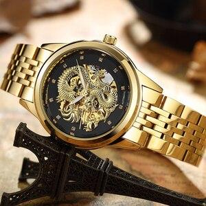 Image 2 - Luksusowe świecenia Dragon szkielet automatyczne zegarki mechaniczne dla mężczyzn zegarek na rękę ze stali nierdzewnej złoty czarny zegar wodoodporna męska relógio