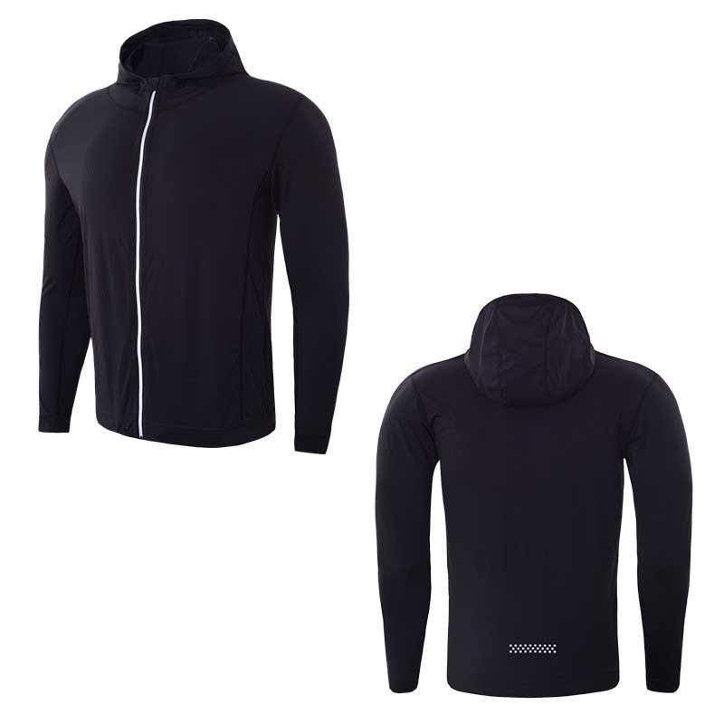 Для мужчин быстросохнущая кепки свитер с капюшоном Спортивная майка сжатия фитнес-плотно Рашгард рубашка Gymming Бодибилдинг куртка для бега VY781