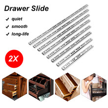 "2Pcs 8""-16"" Ball Bearing Drawer Slides Steel Ball Bearing Slides Keyboard Cabinet Cupboard Drawer Runners For Furniture Slide(China)"