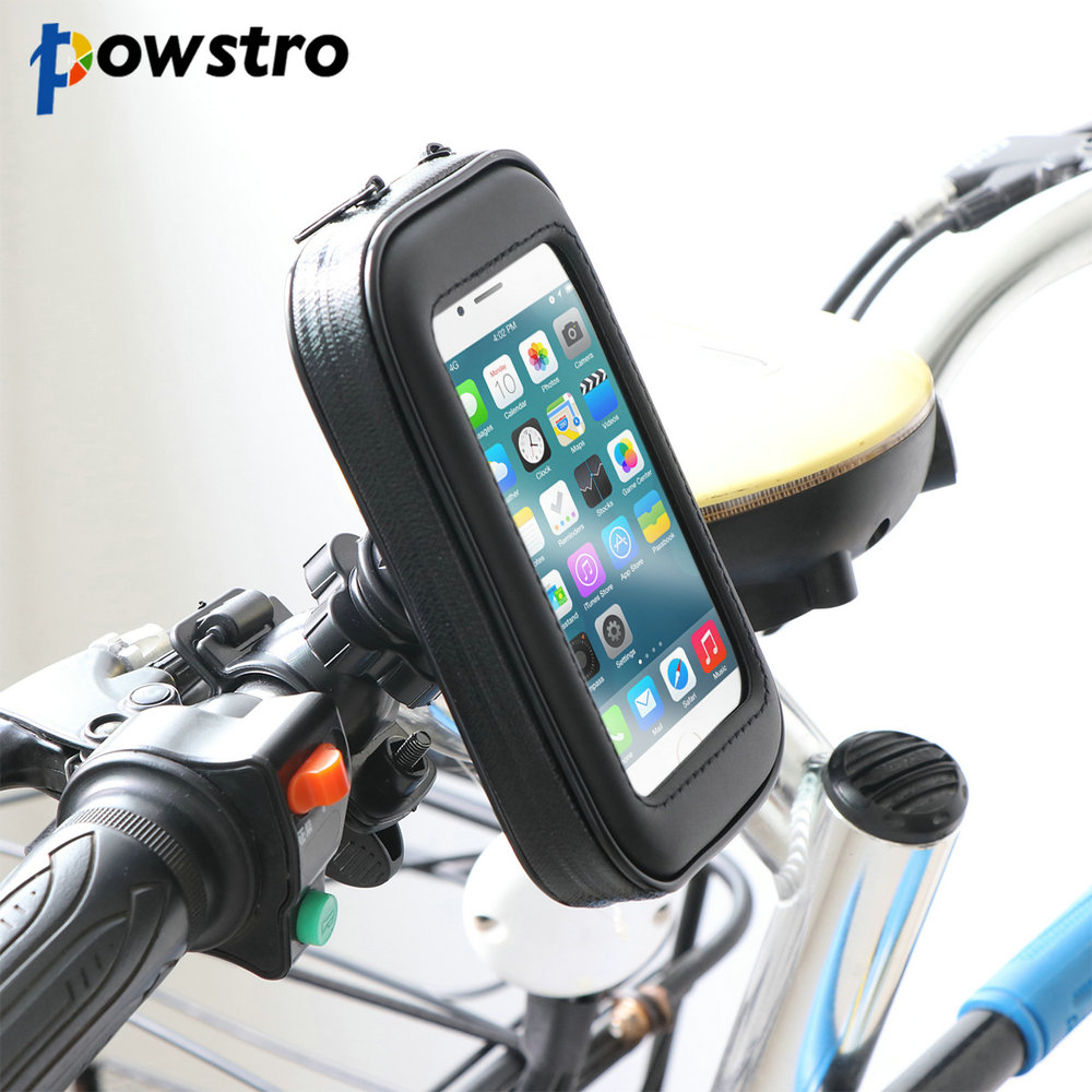 Powstro 360 Degree Phone Holder Bag Pouch Cover Waterproof Shockproof Bike Motorcycle Handlebar For IPhone 6 6s Samsung