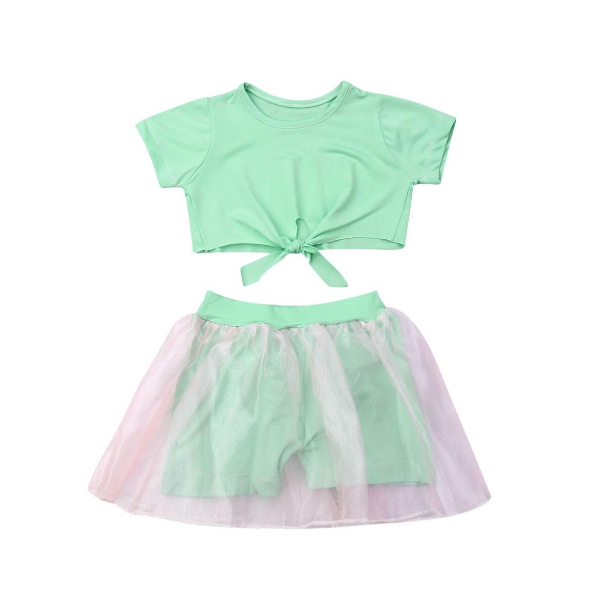 1-6y Sommer Kleinkind Kinder Baby Mädchen Kurzarm Crop Tops Tutu Transparent Kurzen Rock 2 Pcs Outfits Mode Kinder Kleidung