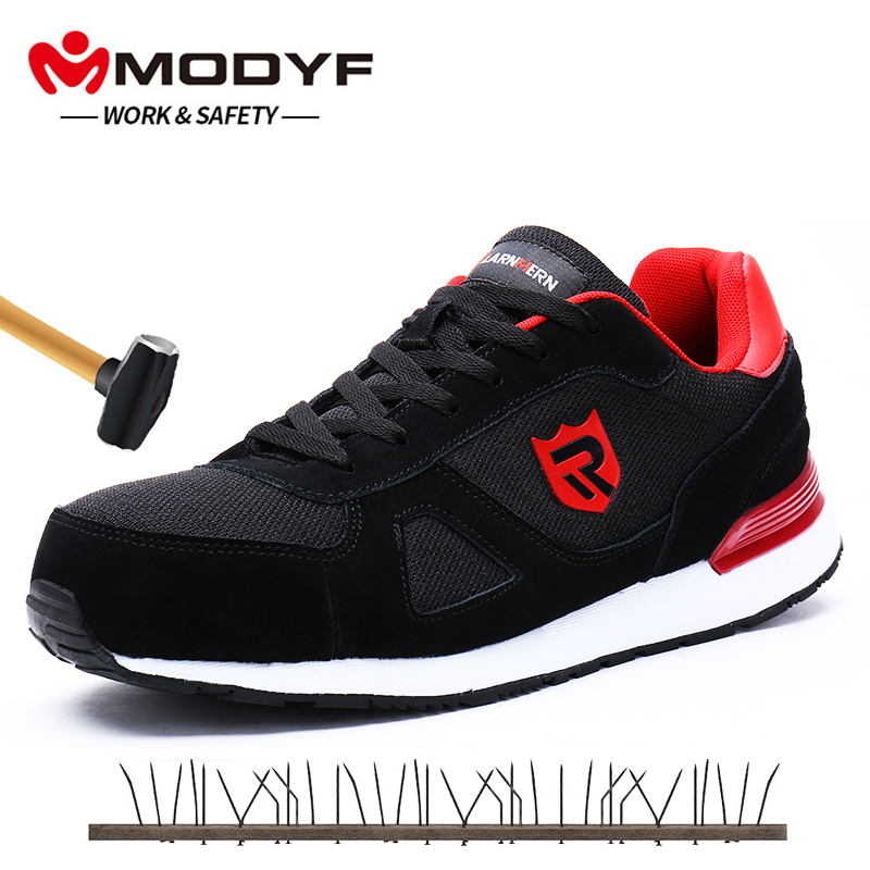 Men's Shoes Breathable Steel Toe Cap Work Safety Shoes Anti-smashing Anti-piercing Construction Work Footwear Breathable Sneakers Boots