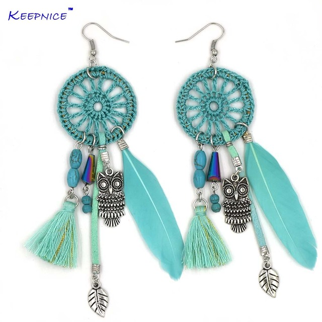 Handmade feather leaves tassel earrings bohemia boho ethnic party handmade feather leaves tassel earrings bohemia boho ethnic party earring dream cather owl pendants chandelier earrings mozeypictures Image collections