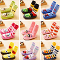 Del niño del bebé antideslizantes botines zapatos calcetines zapatillas mocasines calcetines largos del bebé zapatos de bebé