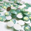 Ss6 (1.9-2.1mm) Verde Opal Não-Strass hotfix, 1440 pçs/lote, plano Voltar Nail Art Cola Em Pedras De Cristal