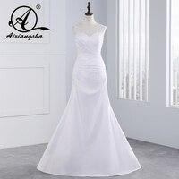 Romántico elegante barato de la sirena del cordón Vestidos de novia 2018 Sheer lentejuelas apliques Vestidos de novia de renda con plisados botones