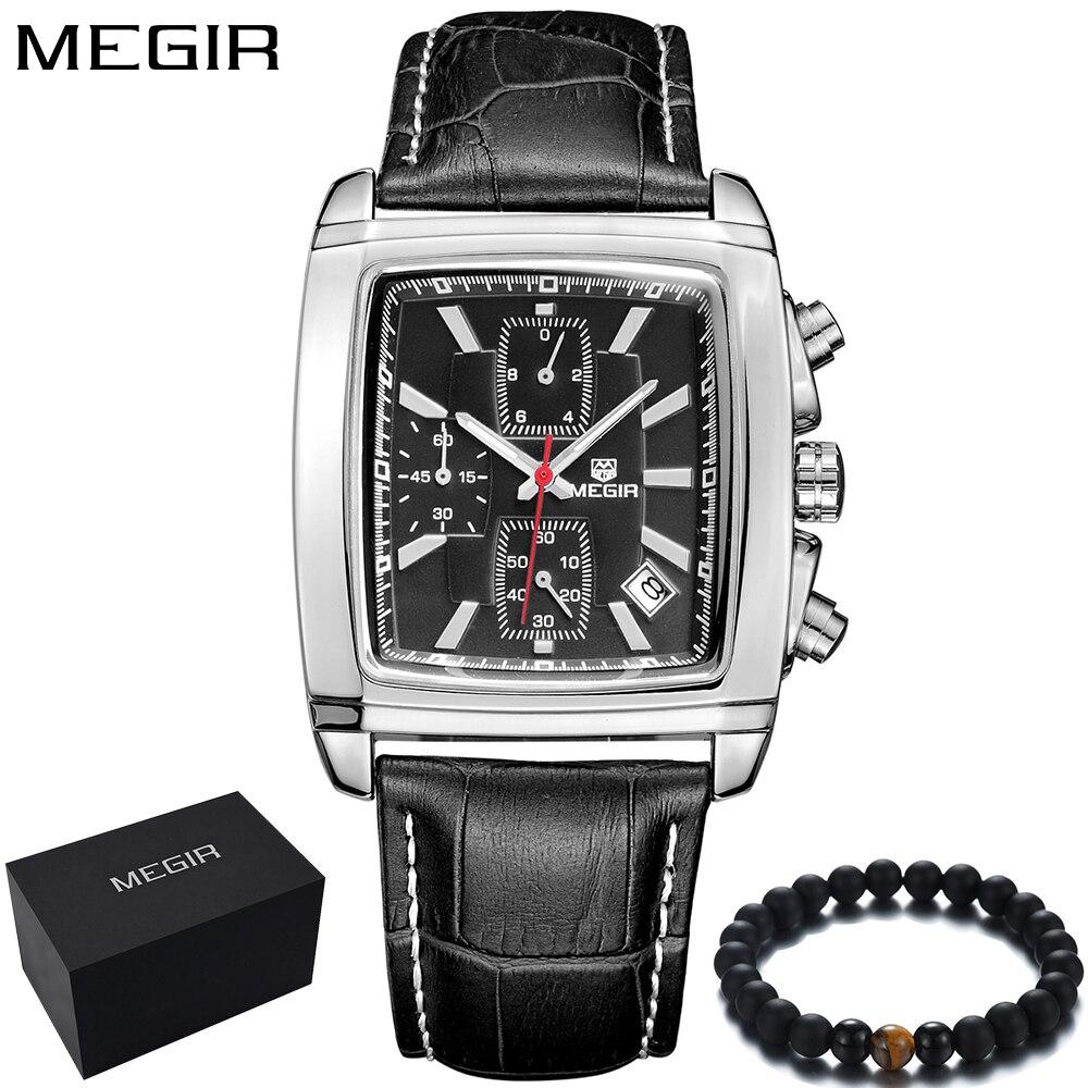 Beste Kopen Goedkoop MEGIR Luxe Merk Mannen Horloges Vierkante ZJ-42