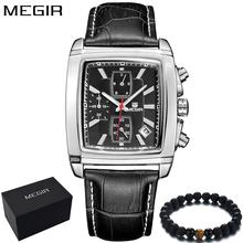 MEGIR Luxury Brand Men Watches Square Chronograph Leather Business Quartz Wristwatch Mens Sport Watch Men Army Clock Male 2028