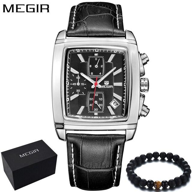 090580e154d2 MEGIR relojes de marca de lujo hombres cronógrafo cuadrados cuero negocio  reloj de cuarzo para hombre