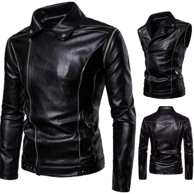 5450819f120 Manga desmontable Pu chaqueta de cuero hombres 2018 nueva cremallera  motociclista Mens Faux cuero chaquetas y