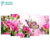 Zhui Star 5d Diy Diamond Embroidery Butterfly Rose Diamond Painting Cross Stitch Full Drill Rhinestone Mosaic