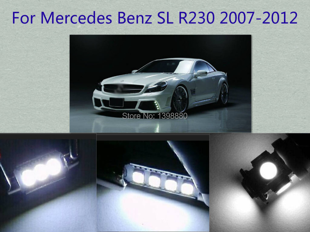Error Free Canbus 9PCS White LED Interior Package kit For SL R230 2007-2012 Map Dome Box Courtesy Tag Lights