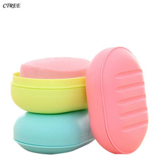 CTREE New Portable Soap Dishes Candy Color Dish Box Cartoon Wash Dust-proof Shower Bathroom Accessories Set C129