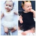 Niños recién nacidos Del Bebé Niña Monos Negro Blanco Del Cordón Del Bebé Ropa Para Bebés Ropa de Las Muchachas Del Mono del Bebé Trajes