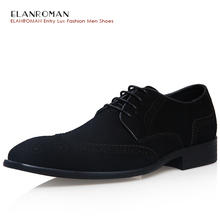 ELANROMAN Italian Luxury Design Formal Mens Dress Shoes Men's New Suede Leather Solid Basic Oxfords for Wedding Office
