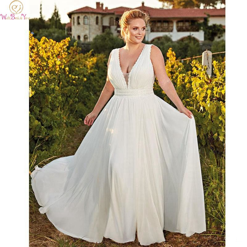 Simple Wedding Dress Plus Size White Custom Made Chiffon A ...