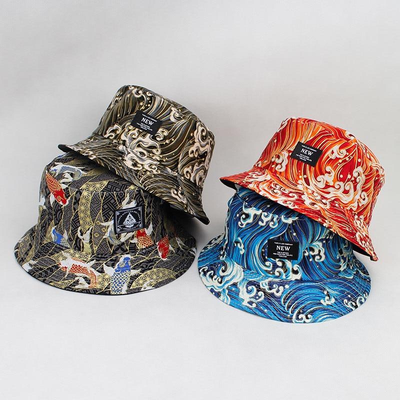 LDSLYJR 2018 Cotton Koi Fish Print On Both Sides Bucket Hat Fisherman Hat Outdoor Travel Hat Sun Cap Hats For Men And Women 174