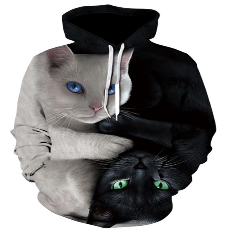 2018 3D Толстовки Для мужчин толстовки с капюшоном Два кота 3D печати с капюшоном Повседневное Пуловеры для женщин уличная Топы корректирующие ...