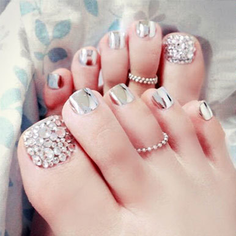 24pcs/set Silver Color Toe False Tips False Toenail Tips for Summer ...