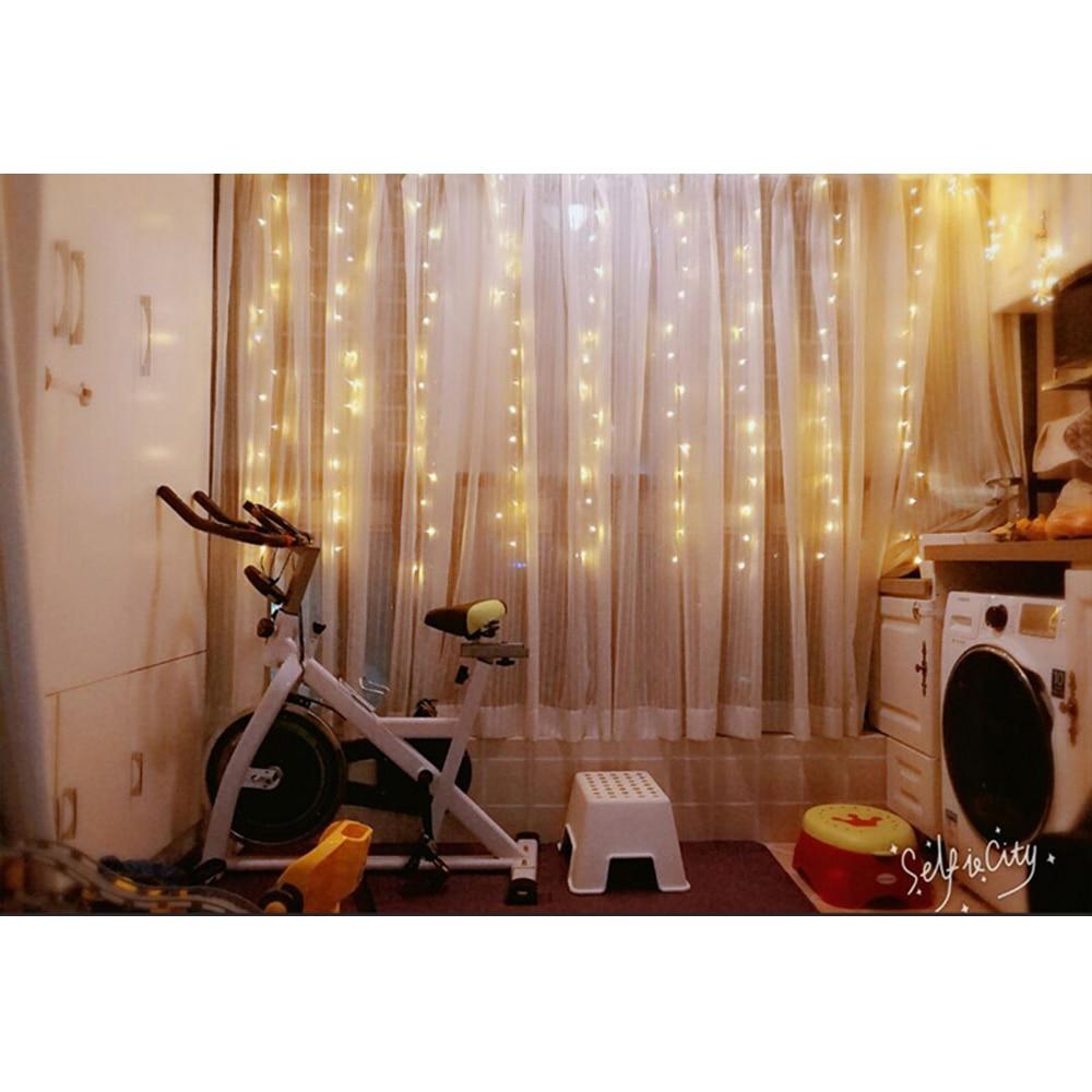 EU csatlakozó 3 * 1M függöny fény Romantikus meleg fehér - Üdülési világítás - Fénykép 3