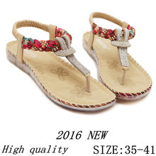 High quality 2016 Summer Flat Shoes Women Beach Sandals Thongs Slippers Flip Flops Big Size 35 – 41