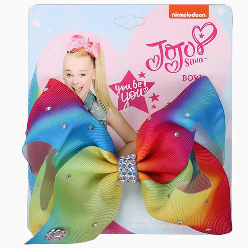 Jojo סיווה קשת מבהיקי רצועת כלים בוטיק שיער קשתות בלינג הנוצץ Rhinestones קשת קליפים עבור תינוק בנות בני נוער פעוטות מתנות