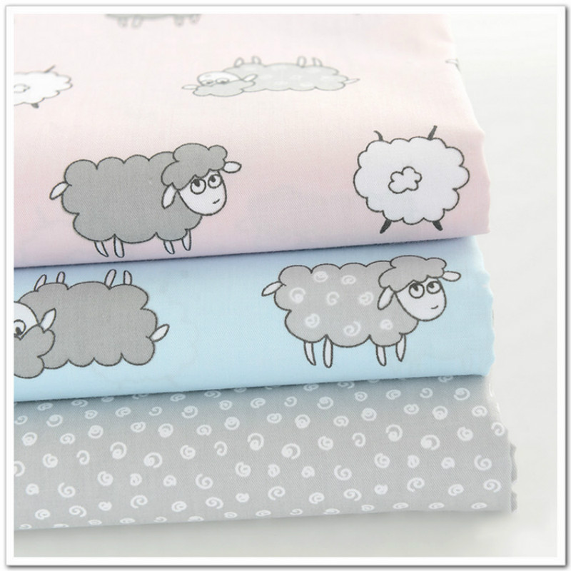 100*160cm 3 Colors Printed Sheep 100% Cotton Twill Baby Bedding Quilting Fabric by meter DIY handmade craft sewing fabric