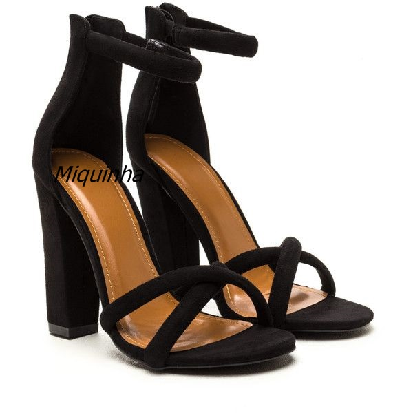 2e2aaa52b Elegant Band let Block Heel Sandals Sexy Black Suede Open Toe Chunky Heel  Dress Sandals Fashion Women Versatile High Heel Shoes -in High Heels from  Shoes on ...
