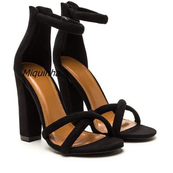 Elegant Band-let Block Heel Sandals Sexy Black Suede Open Toe Chunky Heel  Dress Sandals Fashion Women Versatile High Heel Shoes