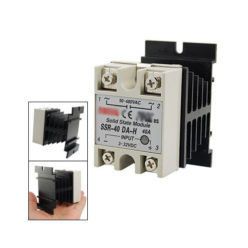 WSFS Hot Sale DC to AC Single Phase Solid State Relay SSR-40DA 40A 90-480V AC+Heat Sink ssr 40da single phase solid state relay white silver