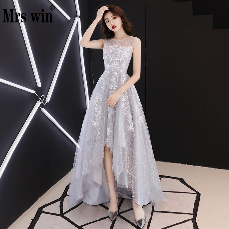 2019 New Mrs Win Elelgant   Evening     Dresses   Classic Embroidery   Evening     Dress   Short Front Long Back Cheap Party Vestido De Festa F