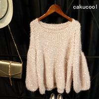 Cakucool Gold Lurex Knit Tops Women Long Lantern Sleeve Autumn Jumpers Furry Loose Thicken Knit Pulloer