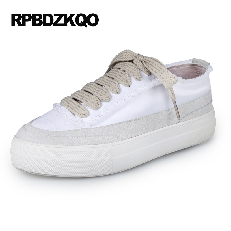 Silk Creepers Platform Shoes Satin Latest Round Toe Lace Up White Thick Sole Ladies Sneakers Flats Women Elevator European акустика центрального канала heco elementa center 30 white satin
