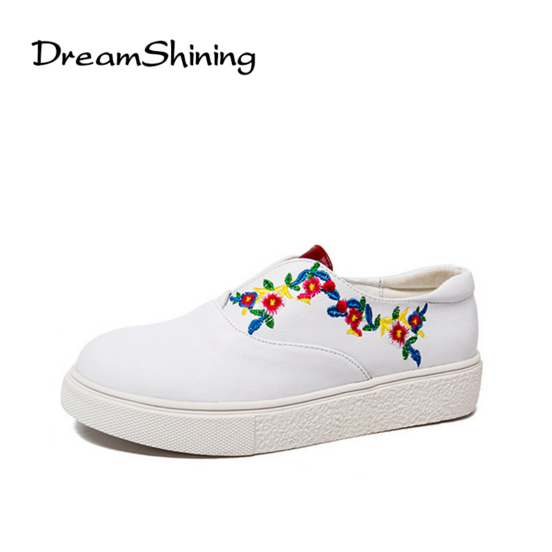 DreamShining Flats Shoes Woman Platform Loafers Embroider Creepers Spring Lace-Up Flats Casual Flowers Women Shoes phyanic creepers 2017 leisure lace up silver platform shoes woman loafers fashion flats women brogue shoes 3 colors xdy4257