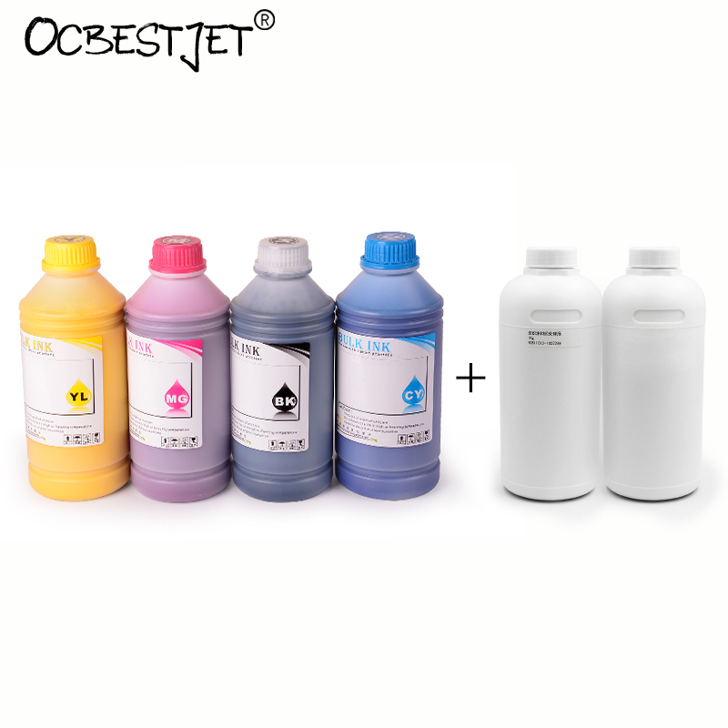 1000ML 6 Bottles Digital Textile Ink For Epson R1800 R1900 R2000 1390 1400 1410 1430 Printer (BK+C+M+Y+White+Pretreatment Liquid 1000ml 6 bottles digital textile ink for epson r1800 r1900 r2000 1390 1400 1410 1430 printer bk c m y white pretreatment liquid