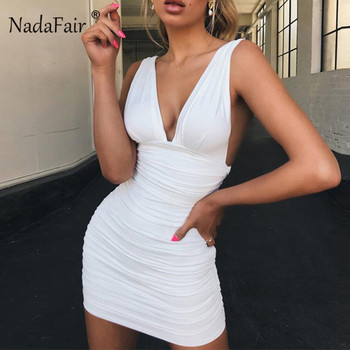 Nadafair Spaghetti Strap Bandage Dress Women Sleeveless V Neck Mini Bodycon Dress Backless Ruched Club Party Sexy Dresses White