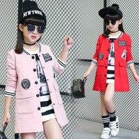 Girl Baseball Jersey Coat Spring Autumn Baby Baseball Jacket Kid Sport Suit Long Sleeve Letter Pink