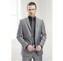 Best Prom Suit Grey Groom Tuxedos Elegant Men For Wedding 2018 Business Work Wear Formal Suits (Jacket+Pants+Tie)