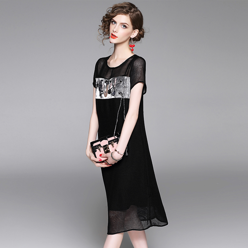Summer Dress Women Elegant Long Black Black Dress Brown Fashion Style Style High