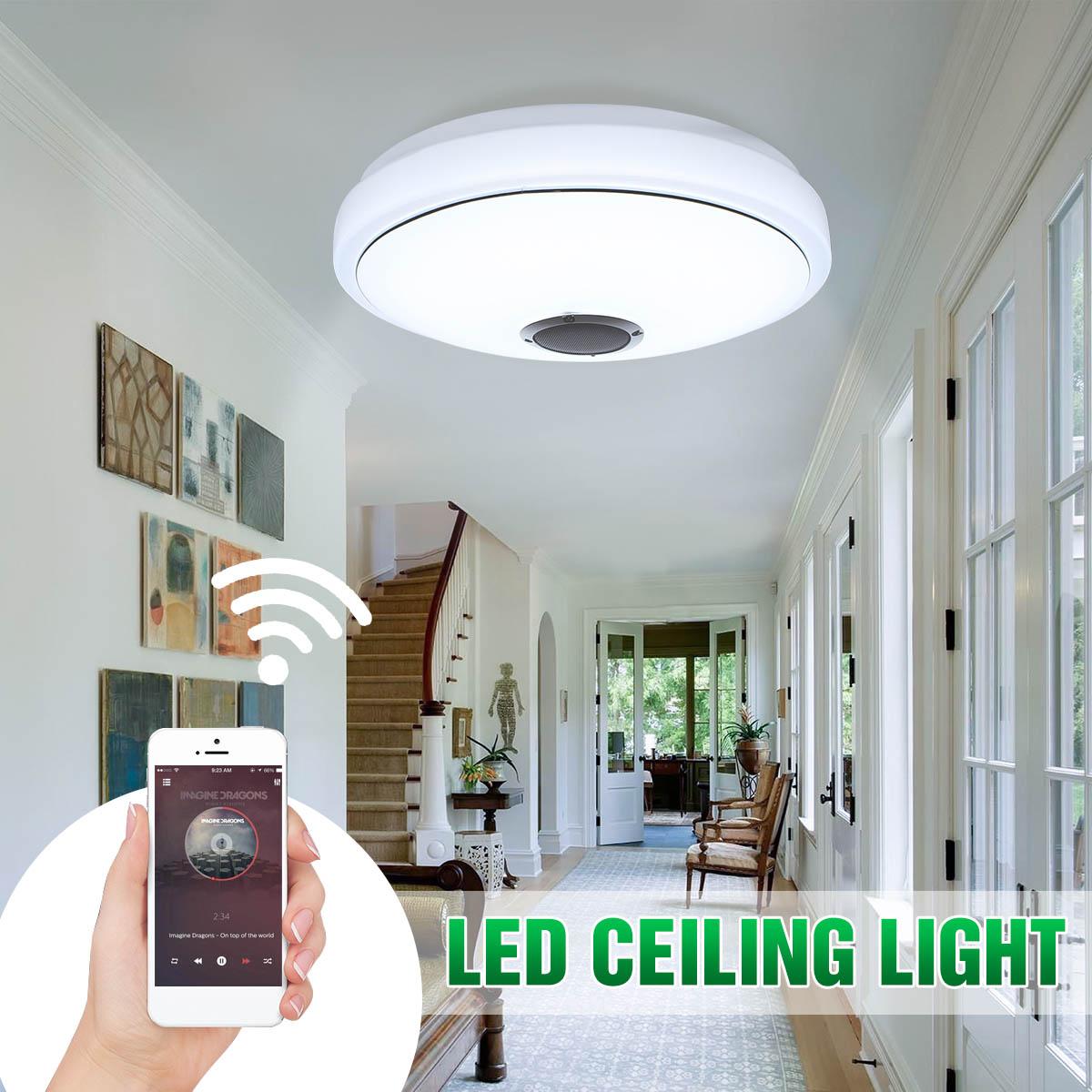 Bluetooth haut-parleur musique lampes plafond moderne à LEDs lumières 48 ampoule APP téléphone télécommande RGB éclairage de plafond haut-parleurs lampe