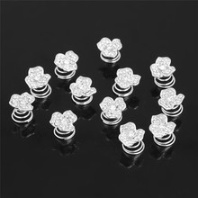 Wholesale 12Pcs Pearls Crystal Wedding Bridal Hair Pins Twists Coils Flower Swirl Spiral Hairpins Fashion Jewelry Accessories