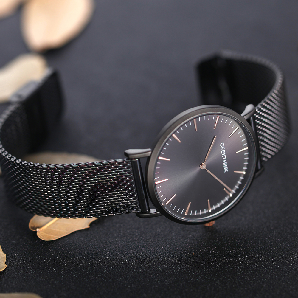 GEEKTHINK Top Luksus Brand Quartz Watch mænd Sort Casual Japan Movet - Mænds ure - Foto 5