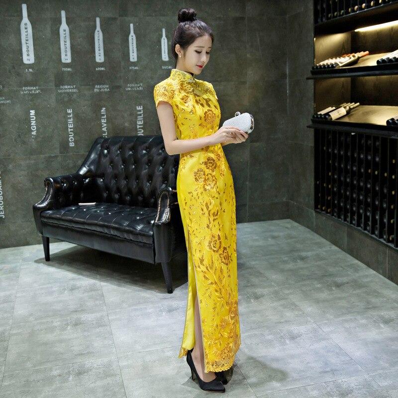 Dentelle bleue Cheongsam robe nationale chinoise Qipao modèle moderne robe de mariée traditionnelle femmes Phoenix broderie mariée YSB - 5