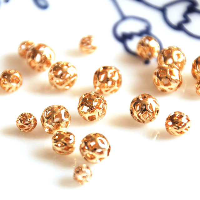 10 pcs/lot gold color hollow balls golden loose  DIY materials bracelet necklace earrings jewelry making craft handmade